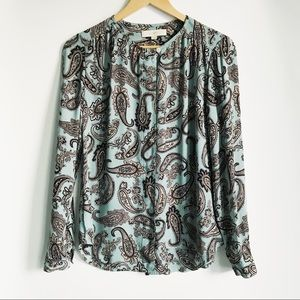 LOFT Blue and Cream Paisley Print Blouse